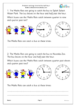 Preview of worksheet Problem solving: time to the half/quarter hour