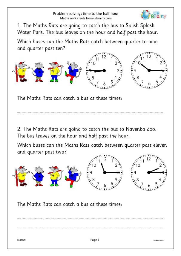 Preview of 'Problem solving: time to the half/quarter hour'