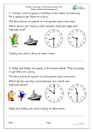 Problem solving: time to the half/quarter hour (2)