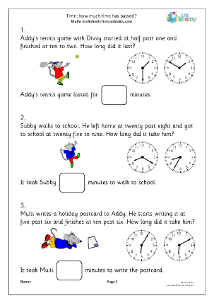Preview of worksheet Time: how much time has passed?