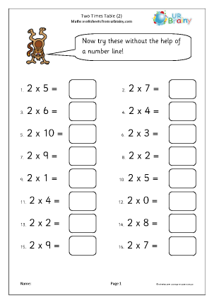 Preview of worksheet 2 x table practice