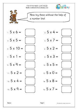 Preview of worksheet 5 times table practice up to 10