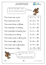 5 times table up to 10
