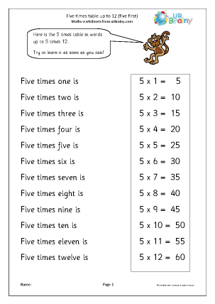 Preview of worksheet 5 times table up to 12