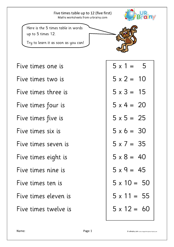 Preview of '5 times table up to 12'