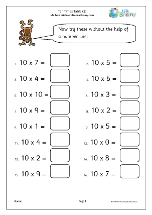 Preview of worksheet More on the 10x table up to 10