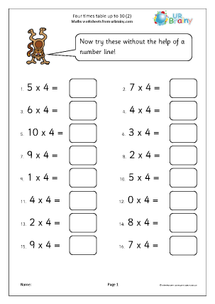 Preview of worksheet 4x table up to 10 (2)