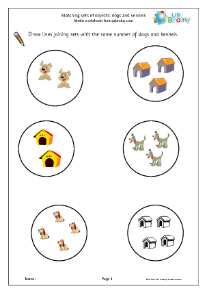 Preview of worksheet Matching objects: dogs and kennels