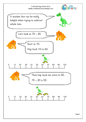 Subtracting whole tens