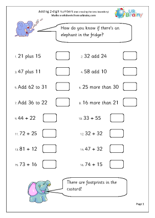 Preview of worksheet Add 2-digit numbers: no carrying