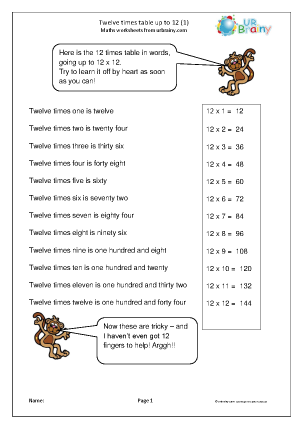Preview of worksheet 12x table up to 12