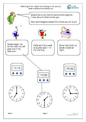 Preview of worksheet Matching times: digital and analogue