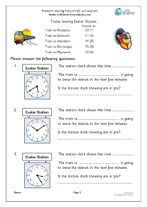 Preview of worksheet Problem solving: train times am and pm