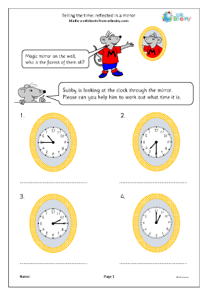 Preview of worksheet Telling the time: reflected in a mirror