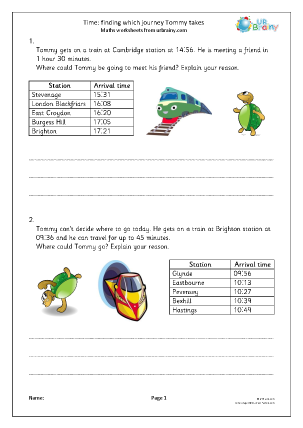 Preview of worksheet Time: find which journey Tommy takes