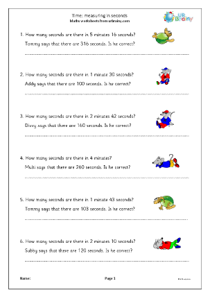 Preview of worksheet Time: measuring in seconds