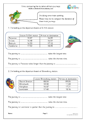 Preview of worksheet Time: comparing journey times