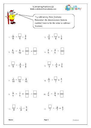 Preview of worksheet Subtracting fractions (2)