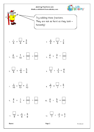 Preview of worksheet Adding fractions (2)