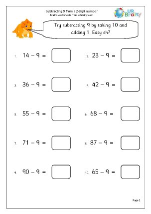 Preview of worksheet Subtracting 9 from a 2-digit number