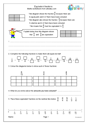 Preview of worksheet Equivalent fractions