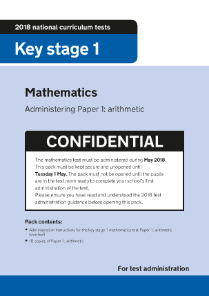 Preview of worksheet 2018 KS1 Mathematics Administering Paper 1 Arithmetic