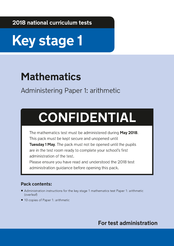 Preview of '2018 KS1 Mathematics Administering Paper 1 Arithmetic'