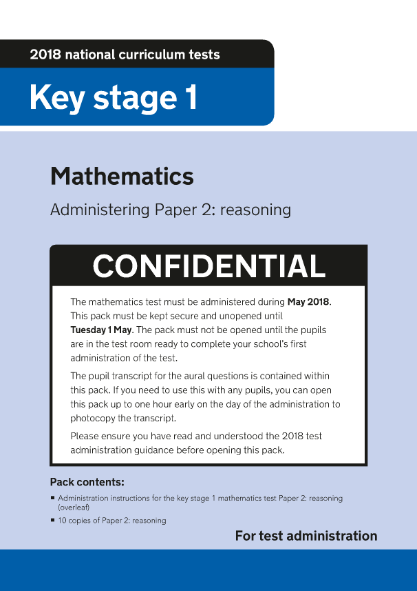 Preview of '2018 KS1 Mathematics Administering Paper 2 Reasoning'