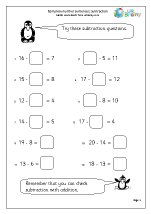 Subtraction: complete number sentences