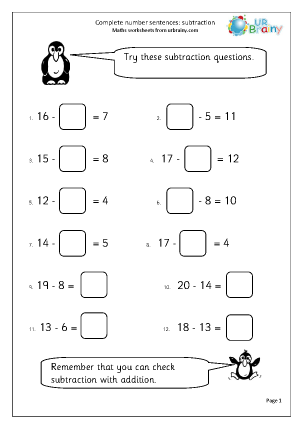 Preview of worksheet Subtraction: complete number sentences