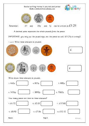 Preview of worksheet Revise writing money (1)