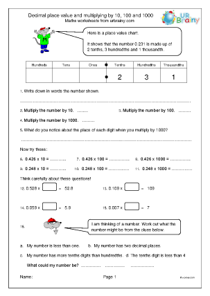 Preview of worksheet Decimal place value and multiplying