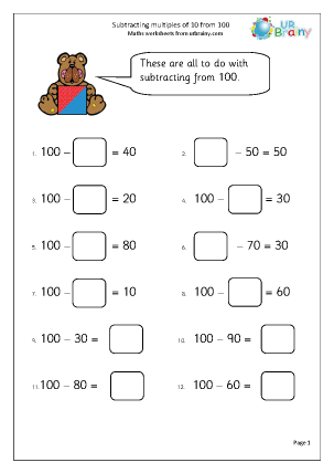 Preview of worksheet Subtracting multiples of 10 from 100