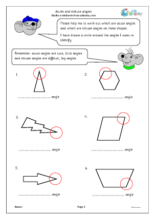 Preview of worksheet Acute and obtuse angles