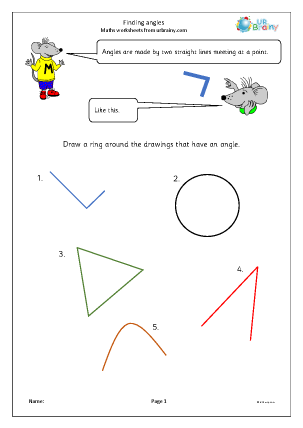 Preview of worksheet Finding angles
