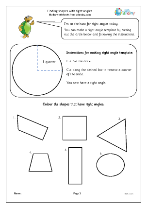 Preview of worksheet Finding shapes with right angles