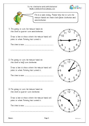 Preview of worksheet Turns: clockwise and anticlockwise