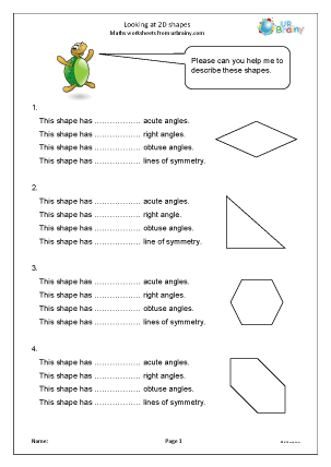 Preview of worksheet Looking at 2D shapes