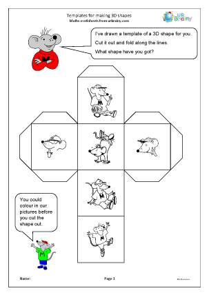 Preview of worksheet Templates for making 3D shapes