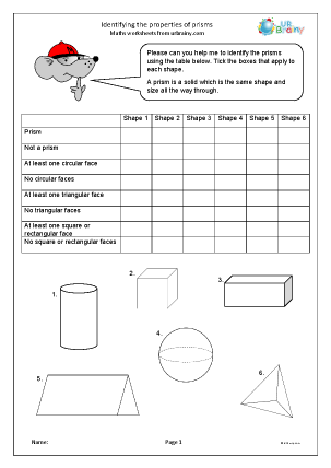Preview of worksheet Identifying prisms