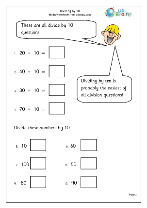 Preview of worksheet Divide by 10