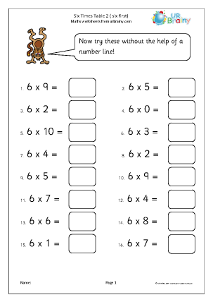 Preview of worksheet 6x table 2 (up to 6 x 10)