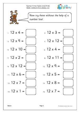 Preview of worksheet 12x table 2 (12 first)