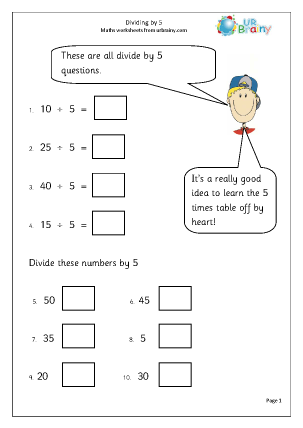 Preview of worksheet Divide by 5