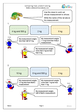 Preview of worksheet Comparing mass: problem solving