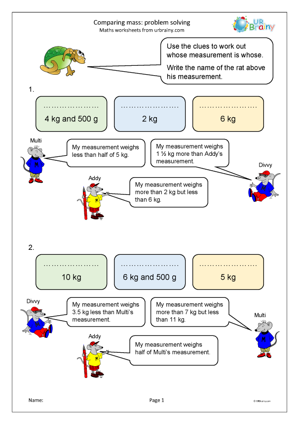 Preview of 'Comparing mass: problem solving'