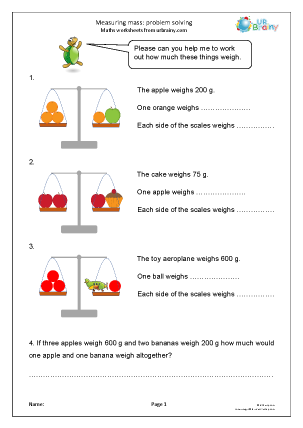 Preview of worksheet Measuring mass: problem solving