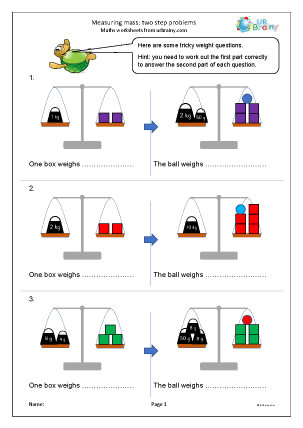 Preview of worksheet Measuring mass: two step problems