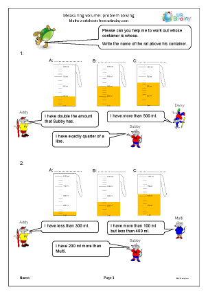 Preview of worksheet Measuring volume: problem solving