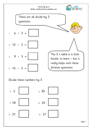 Preview of worksheet Divide by 3